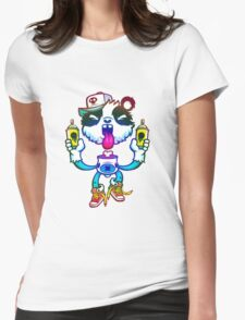 Rainbow Graff Panda. Womens Fitted T-Shirt