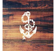 Vintage Nautical Anchor White on Brown Wood Grain Photographic Print
