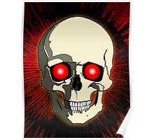 Skull with Red Background Poster