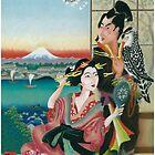 Japan print, pastel tribute to ukiyo-e by colortown