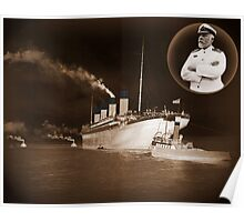 ☝ ☞ EJ SMITH CAPTAIN OF THE TITANIC-Titanic leaving Belfast with two guiding tugs ☝ ☞ Poster
