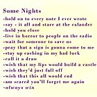 Some Nights Checklist by Defyingdancer