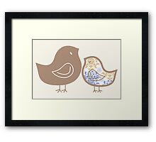 Sweet Damask Blue Chicks Framed Print