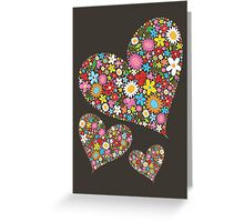 Spring Flowers Valentine Hearts Trio Greeting Card