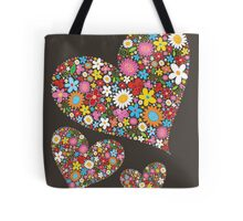 Spring Flowers Valentine Hearts Trio Tote Bag