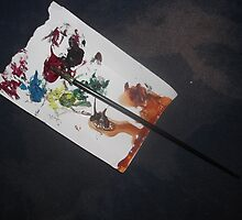 Paint palette/Brush -(100413)- used to create last 2 canvases by paulramnora