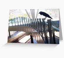 Vaguely A Huge Crow On A Translucent Glass Fence Attempting To Intimidate Greeting Card