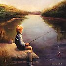 Lil Boy Fishing1 by Franciska Howard