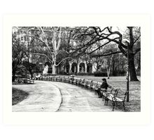 Reading in the Park Art Print