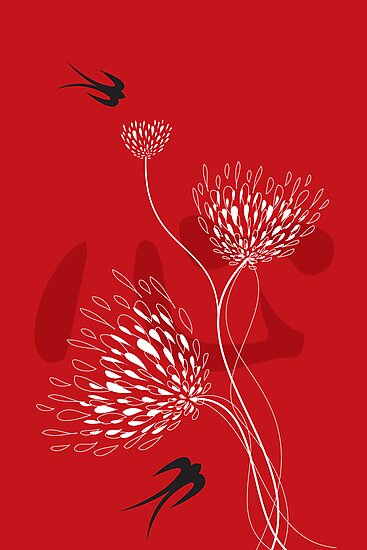 Black Swallows With Red Chinese Heart and White Blooms by fatfatin
