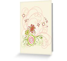 Sweet Groovy Pink Wild Blooms Greeting Card