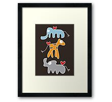 Cartoon Ellie, Giraffe & Rhino Trio T-Shirt Framed Print