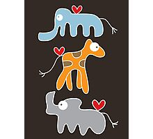 Cartoon Ellie, Giraffe & Rhino Trio Photographic Print