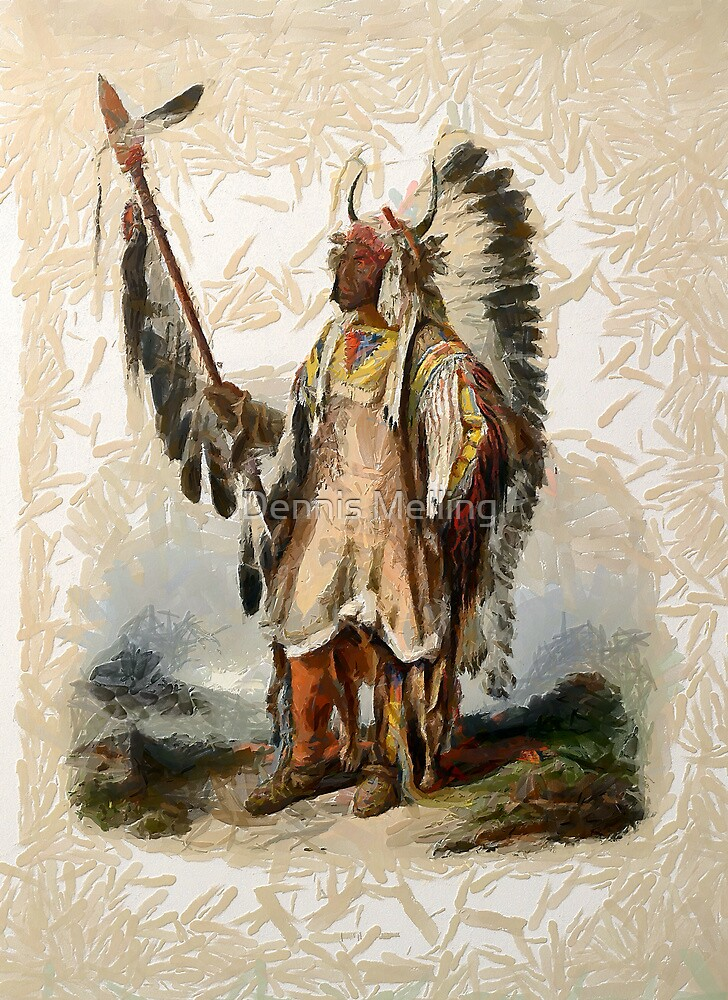 """""""Mató-Tope, a Mandan chief"""" from an aquatint by Karl Bodmer by Dennis Melling"""
