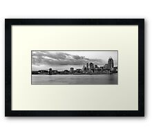 Cincinnati black n white from the water Framed Print