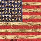 Vintage Patriotic American Flag on Old Wood Grain by RailtonRoad