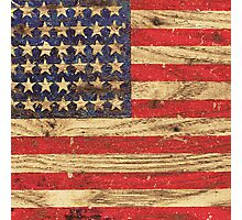 Vintage Patriotic American Flag on Old Wood Grain Photographic Print