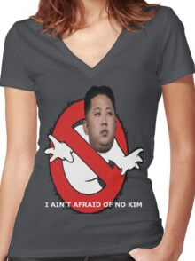 I AIN'T AFRAID OF NO KIM Women's Fitted V-Neck T-Shirt