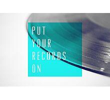 Records [Blue] Photographic Print