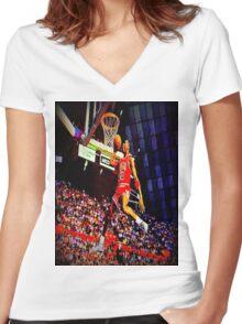 MJ DUNK Women's Fitted V-Neck T-Shirt