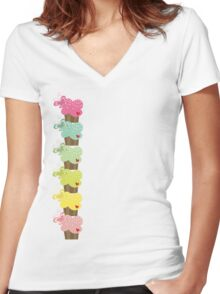 Sweet Pastel Cupcakes Women's Fitted V-Neck T-Shirt