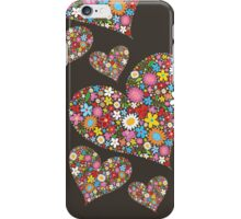 Spring Flowers Valentine Hearts Trio iPhone Case/Skin