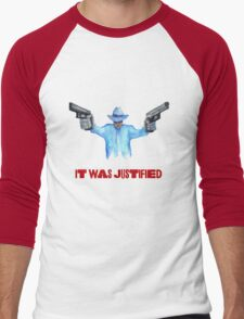 """Raylan Givens, """"It was Justified"""" Red words (like the official screen title) T-Shirts Men's Baseball ¾ T-Shirt"""