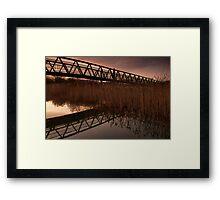 Upton Footbridge Golden Hour Reflections Framed Print