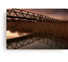 Upton Footbridge Golden Hour Reflections Canvas Print