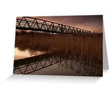 Upton Footbridge Golden Hour Reflections Greeting Card