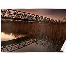 Upton Footbridge Golden Hour Reflections Poster