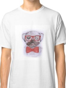 Cute funny watercolor pug with red glasses and bow hand paint Classic T-Shirt