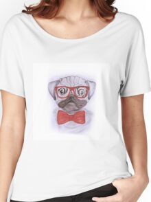 Cute funny watercolor pug with red glasses and bow hand paint Women's Relaxed Fit T-Shirt