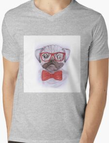 Cute funny watercolor pug with red glasses and bow hand paint Mens V-Neck T-Shirt