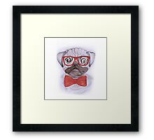 Cute funny watercolor pug with red glasses and bow hand paint Framed Print