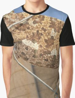 Chameleon In Shades of Brown on Fence Graphic T-Shirt