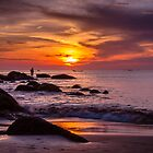 Rock Fisherman Karon Beach Thailand at Sunset by MikeAndrew