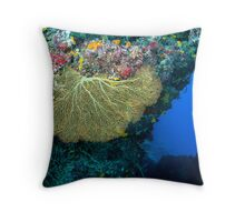 Diver and Fan Coral Throw Pillow