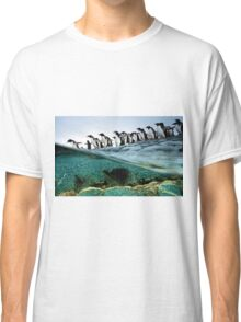 Penguins Running Into Water Classic T-Shirt