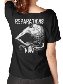 REPARATIONS NOW BATTERED SLAVE BACK SHIRT. (DARK) Women's Relaxed Fit T-Shirt