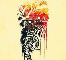 Painted watercolor tiger by Budi Kwan