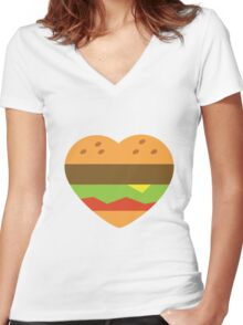 I heart burgers Women's Fitted V-Neck T-Shirt