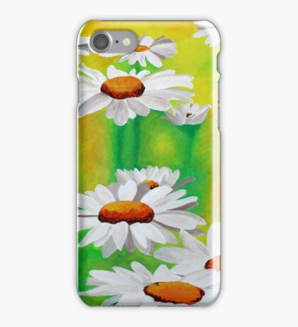 White Daisies On A Yellow And Green Summery Background iPhone Case/Skin