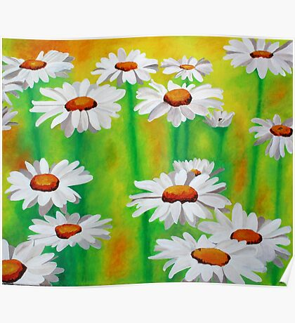 White Daisies On A Yellow And Green Summery Background Poster
