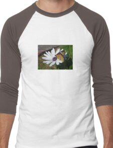White Daisy and Butterfly Men's Baseball ¾ T-Shirt