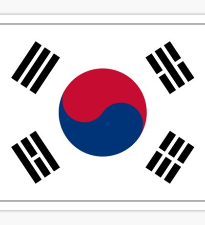 KOREA, KOREAN, South, Korean Flag, Flag of South Korea, Taeguk flag, Taegukgi, Taegeukgi, Pure & Simple, on BLACK Sticker