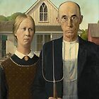 Grant Wood - American Gothic  by TilenHrovatic