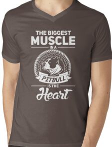 The Biggest Muscle In A Pit Bull Is The Heart Mens V-Neck T-Shirt