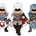 Assassin's Creed: Ezio Auditore Chibi Trio by SushiKittehs