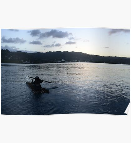 Jamaican Bamboo Raft Poster
